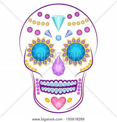 Skull decorated with colorful precious stones and gems