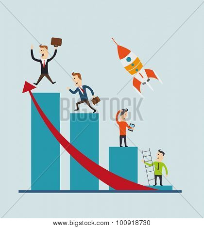 Business people on a graph. Vector concept,