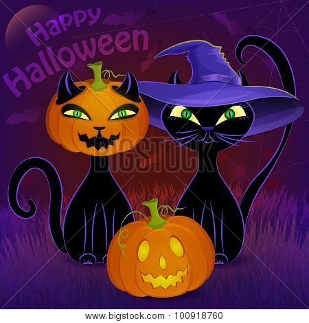 Happy Halloween black cats card template
