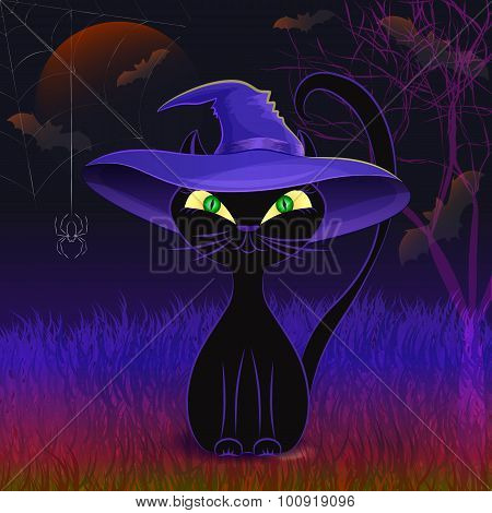 Cute black cat in a witch's hat card template