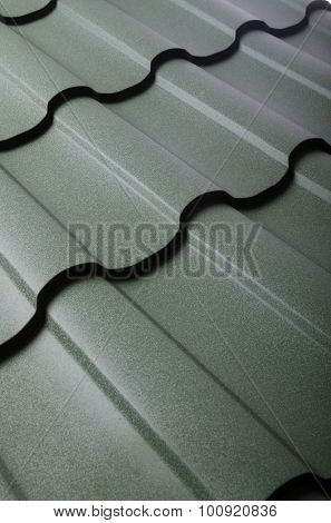 Close up of metal roof tile