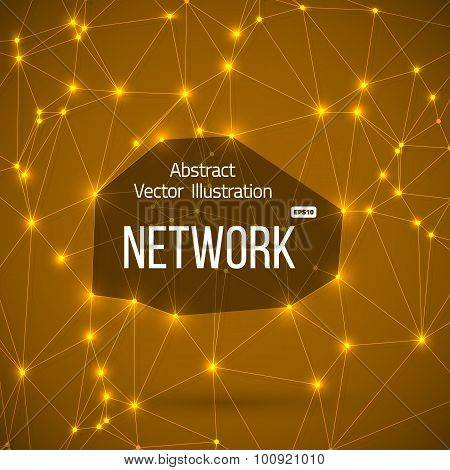 Network Connections Vector Background with Lines Connected to ea