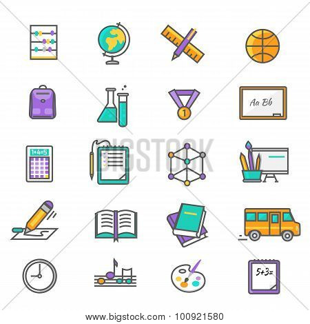 Set of Thin Lines Icons Back to School