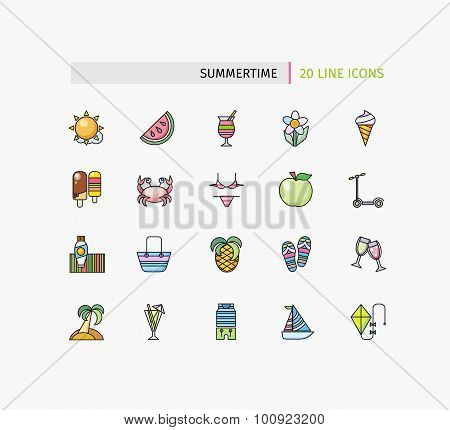 Set of Thin Lines Icons Summertime