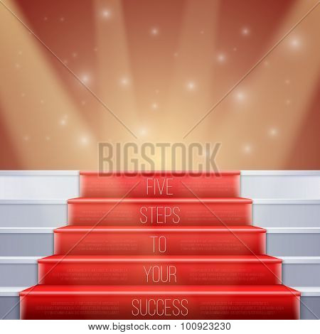 Photorealistic Vector Stairs with Red Carpet and Bright Luxury E