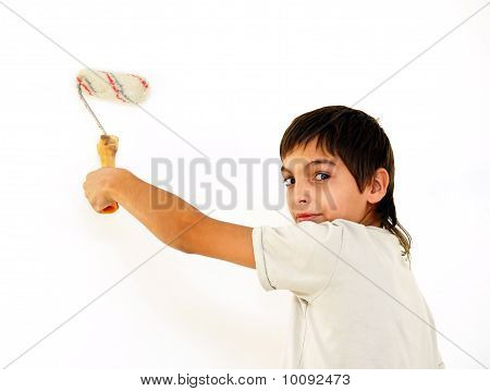 Boy Indoor Painting White