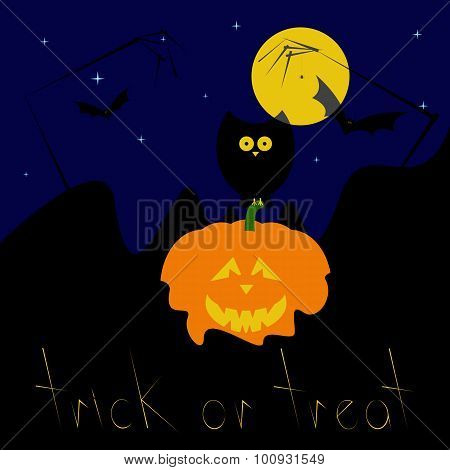 Happy Halloween Greeting Card With Pumpkin And Owl