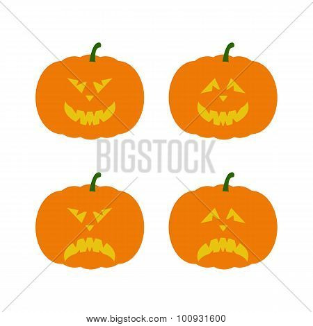 Set Of Creepy Halloween Pumpkins