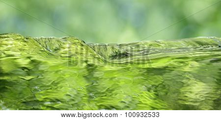 Green Water Over Spring Background