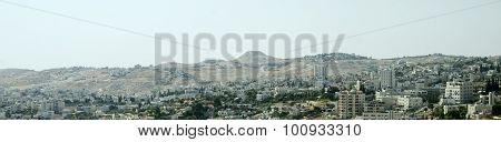 Panorama Of The Holy City Bethlehem And Herodium Hill