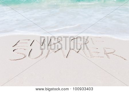 Text End Of Summer On Beach