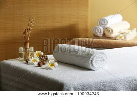 Massage table in beauty spa salon