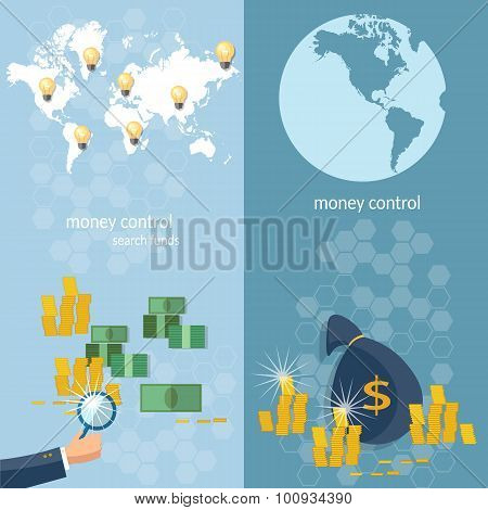 Global Monetary System, Banking Money Transfer, Transactions Online Payments, vector banners