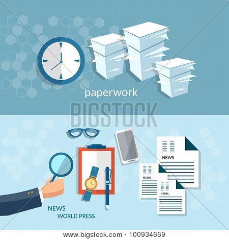 Office Work Paperwork Concept Startup Businessman Analyst Vector Banners