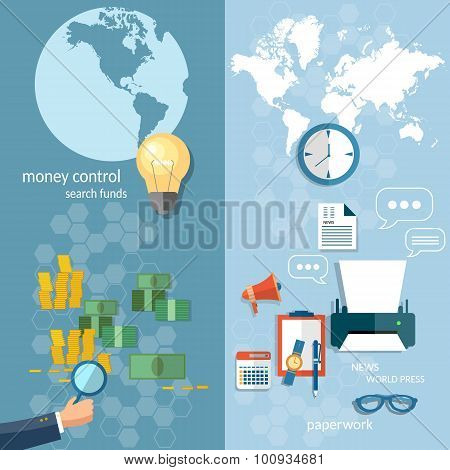 Business World Concept Money Transfer Transactions Finance Online Payment  Working Office Stationery poster
