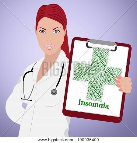 Insomnia Word Represents Ill Health And Attack