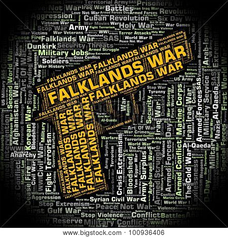 Falklands War Shows Wordcloud Text And Fight