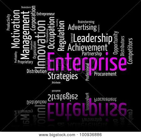 Enterprise Word Represents Wordclouds Organization And Words