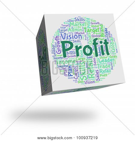 Profit Word Represents Earn Growth And Wordclouds