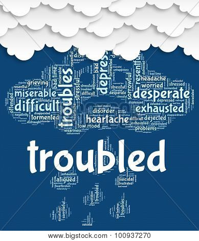 Troubled Word Shows Difficult Problematic And Hard