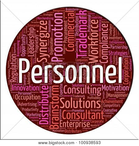 Personnel Word Indicates Labour Force And Employees