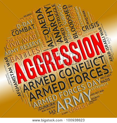 Aggression Word Means Infringement Wordcloud And Encroachment