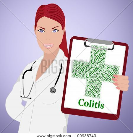 Colitis Word Indicates Inflammatory Bowel Disease And Affliction