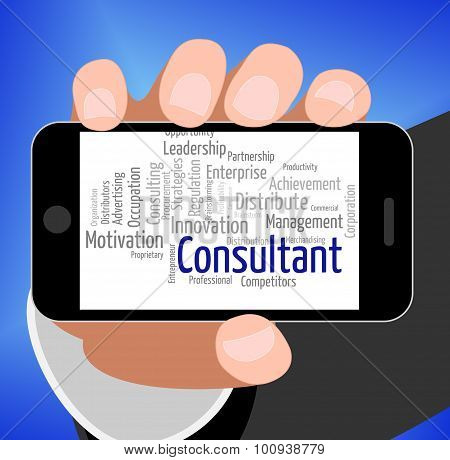 Consultant Word Represents Specialist Wordcloud And Authority
