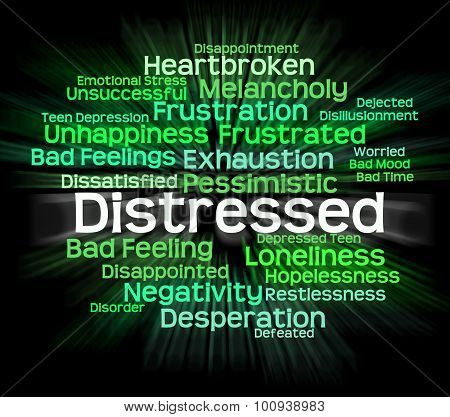 Distressed Word Shows Distressing Desperate And Wordcloud