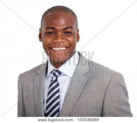 confident young african american businessman isolated on white background