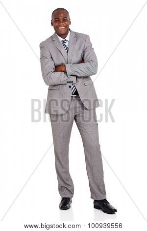 successful young african american business executive posing on white background