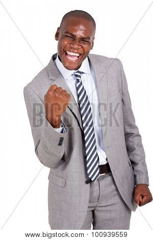 cheerful african business man holding fists on white background