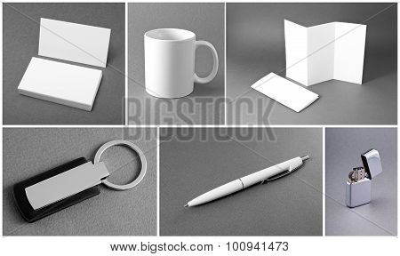 White Set Of Stationery On Gray Background.