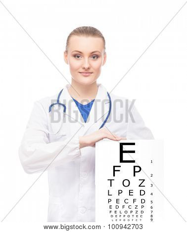 Beautiful woman with tablet and sight table on it on isolated background.