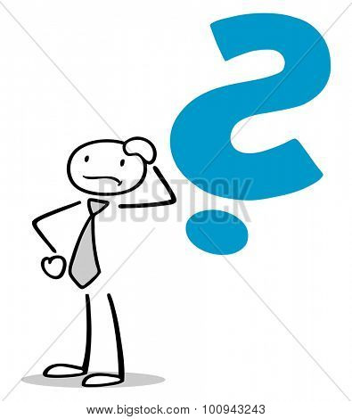 Drawn business man thinking with big question mark over his head