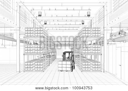 CAD wireframe mesh of a warehouse with forklift (3D Rendering)
