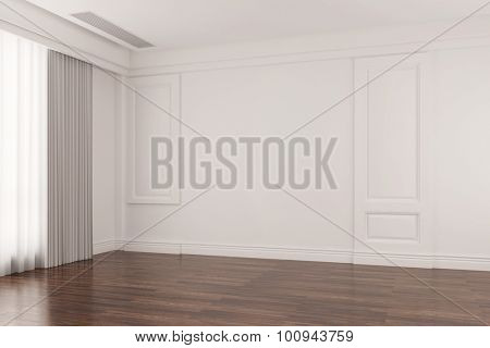 Empty bright room in old house with oak floor parquet (3D Rendering)