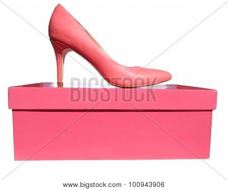 Pink high heel shoe is on the pink box, isolated on white background