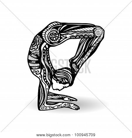 Man in yoga pose in zentangle style.