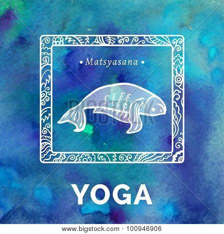 Yoga card with a fish in Matsyasana.