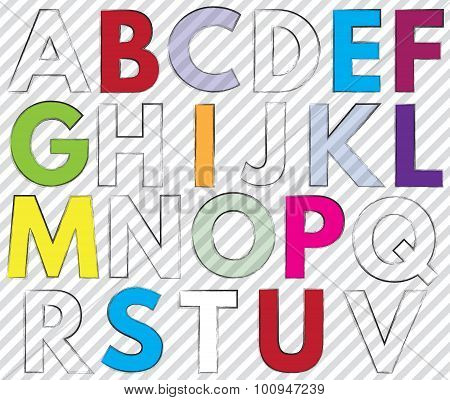 Font. Alphabet. #2. Letters A-v.