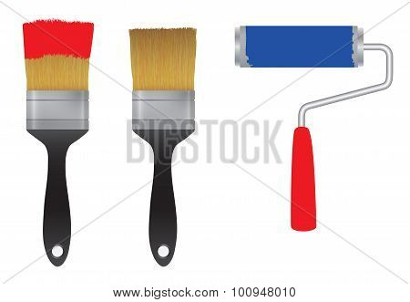 Brush For Paint And The Roller For Paint. Tool.