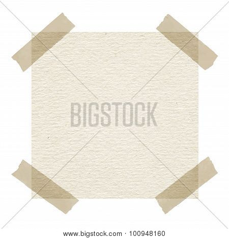 Beige note paper with adhesive tape on white background