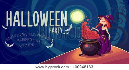 Cute Young Witch For Halloween Cards. Vector Clip Art Illustrati