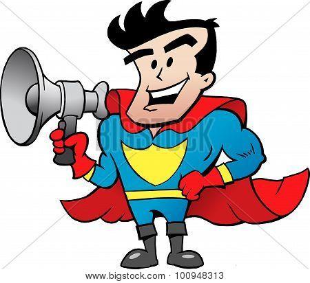 Vector Cartoon Illustration Of An Super Hero Talk In Megaphone