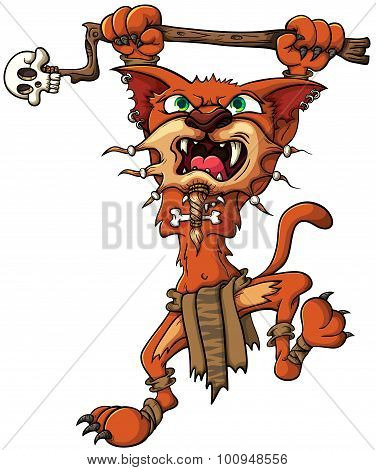 Saber-toothed Tiger - Shaman, Attacks With A Stick In Its Paws. Vector Illustration With Simple Grad