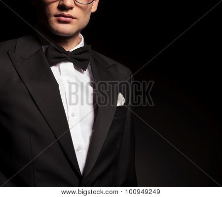 Picture of a young man wearing a tuxedo.