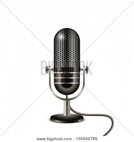 Retro black microphone with wire. On the air vector illustration