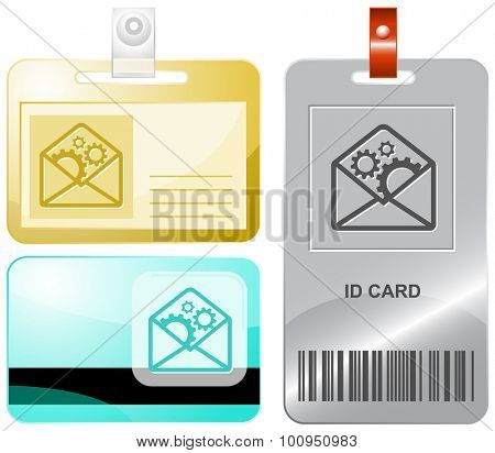 open mail with gears. Vector id cards.