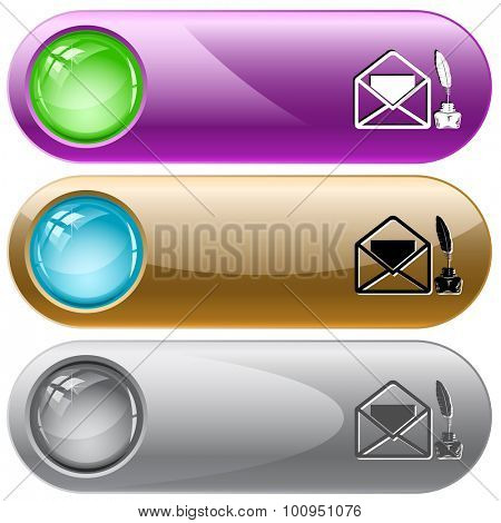 mail with feather and ink stand . Vector internet buttons.